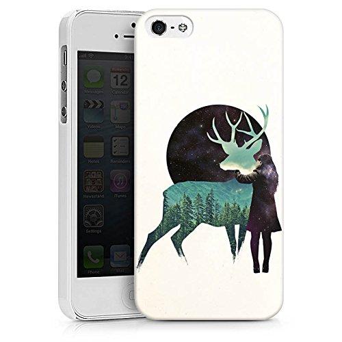 Apple iPhone X Silikon Hülle Case Schutzhülle Hirsch Mädchen Mond Hard Case weiß