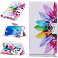 Fundas Samsung Galaxy J7 (2016) J710F Carcasa, Ougger Rainbow Flor Premium Billetera PU Cuero Magnética Stand Silicona Flip Piel Bumper Protector Tapa Cover Case con Ranura para Tarjetas