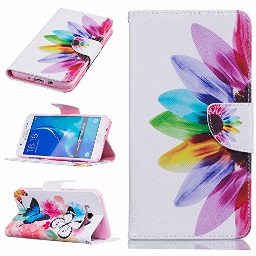 Custodia per Samsung Galaxy J7 (2016) J710F Cover Case, Ougger Rainbow Flower Portafoglio PU Pelle Magnetico Morbido Silicone Flip Protettivo Gomma Custodie con Slot per Schede