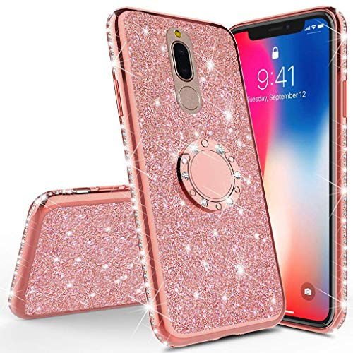 20 Glitzer (Homikon Silikon Hülle Kompatibel mit Huawei Mate 20 Lite Überzug TPU Bling Glitzer Strass Diamant Schutzhülle mit 360 Grad Ring Ständer Flex Durchsichtig Silikon Handyhülle Tasche Case - Rose Gold)