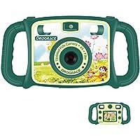 DROGRACE Cámara Infantil 1080P HD Niños Digital Video Cámara con 4 x Zoom, Flash Lights, 2 Pulgadas LCD y Asas para Niños Niñas Cumpleaños Vacaciones Regalo – Verde