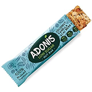 Adonis Low Sugar Vanille Snack Nuss Riegel | 100% Natural, Low Carb, Glutenfrei, Vegan, Paleo (10)