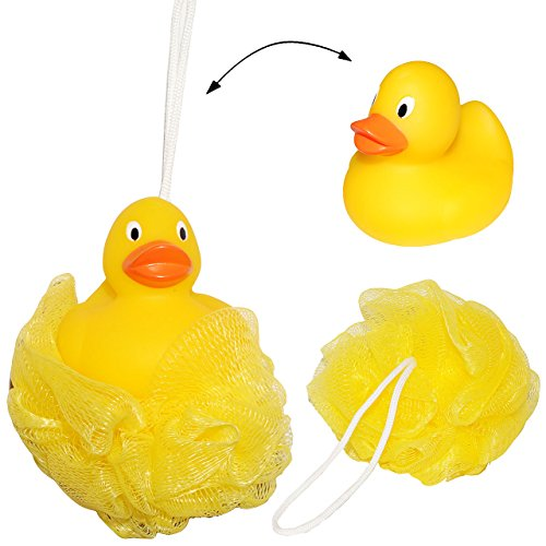 alles-meine.de GmbH 3 Stück _ 3-D Badeschwämme mit Tier -  lustige gelbe Ente  - toller Schaum Effekt ! __ Badespielzeug - Baby / Kinder & Erwachsene - Badeknäul / Duschknaul -..