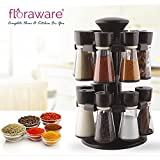 Floraware Plastic Revolving Spice Rack Set, 120ml, Set of 16, Brown