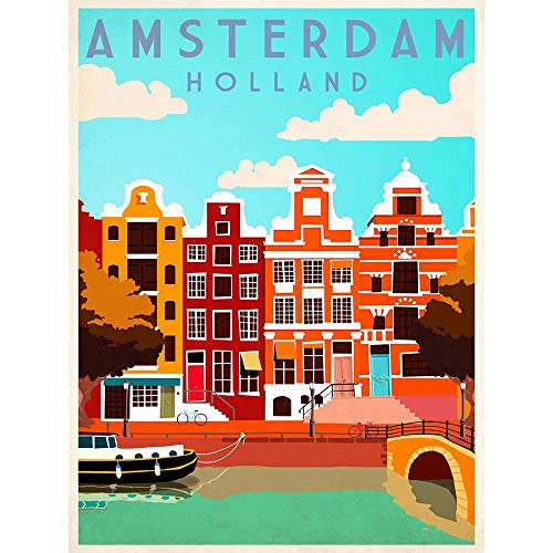 Wee Blue Coo LTD Travel Tourism Amsterdam Holland Netherlands Canal Boat Houses Art Print Poster Wall Decor Kunstdruck Poster Wand-Dekor-12X16 Zoll - Art Print Poster