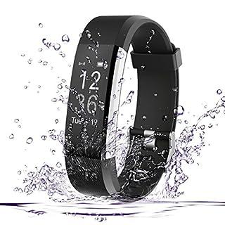 Fitness Tracker, AmyTech Aktivitätstracker mit intergrierter Herzfrequenzmessung Pulsuhr IP67 Wasserdicht Smart Armband für Android und IOS Smartphones (Schwarz)