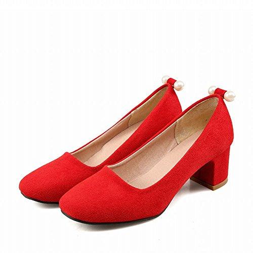 Mee Shoes Damen populär süß vierkant Perle-Dekoration Geschlossen Nubukleder chunky heel Pumps Rot 7qGmOJKntZ