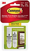 Command Small and Medium Picture Hanging Strips Value Pack, 4 pairs small, 8 pairs medium-white