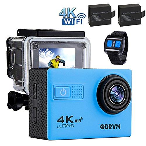 ODRVM WiFi Unterwasserkamera Wasserdichte Action Kamera UHD 4K mit 2 Akkus, kostenloses Zubehör für Outdooraktivitäten wie z.B. fahradfahren, skilaufen, motofahren und für Wassersportarten