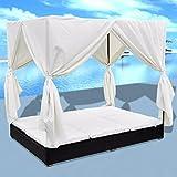 Tidyard- Sonnenliege mit Vorhängen Gartenliege Polyrattan Doppelliege Rattanliege Liegestuhl 197 x 140 x 180 cm für 2 Personen Außenbereich