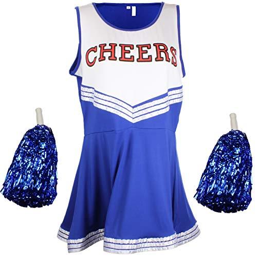 """Highschool Kostüm - Cheerleader-Kostüm, Kostüm aus """"High School Musical"""" mit Pompoms, in 6Farben und5Größen"""