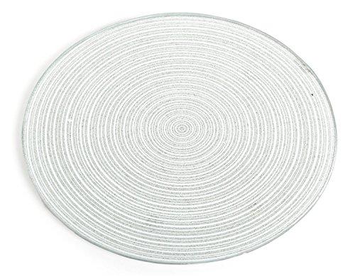 SIL 20cm y 30cm Redonda de Plata con Purpurina Cristal Espejo Vela Placa, Vidrio, Plateado, 20 cm...