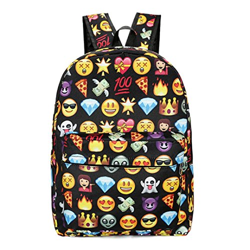 Imagen de emoji , imprimir cara  escuela bolsas para adolescentes niñas niños by venmo negro