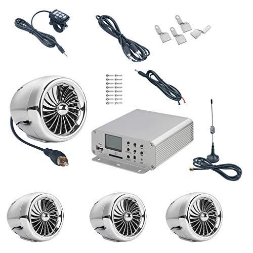 perfk 4X Stereolautsprecher Audio-FM-System 3,5 mm AUX-Audiobuchse für Motorrad, ATV, UTV, Elektrofahrrad, Marine, Boot - Chrom -