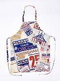 Schürze Circus. Das Design mehrfarbig ist eine Collage von App Werbung von verschiedenen Zirkus. Tasche auf der rechten Seite.