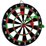 "SLYK Dart Board Set 15"" (Round Metal Wiring), Double Sided With 6 Metal Darts + 3 Steel Dart Needle"