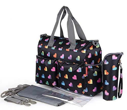 Chilsuessy Baby Wickeltasche Babytasche Pflegetasche mit Wickelunterlage und Flaschenwärmetasche vielen Fächern und Universal Haken als Kinderwagen Befestigung für Reise unterwegs , 3# 5#