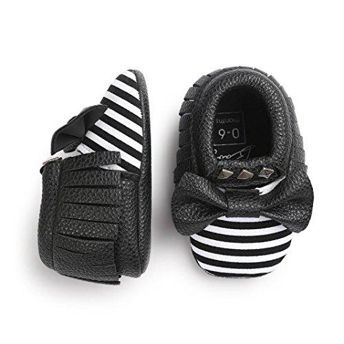 kingko® Moderne Baby Bowknot Streifen Baby Kleinkind SchuheBabyPrinzessin Soft Sohle Schuhe Kleinkind Turnschuhe Freizeitschuhe(Girl/Boys) Schwarz