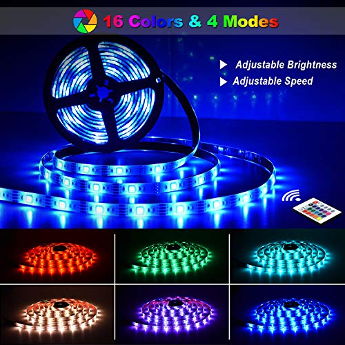 Tiras LED 6M,  OMERIL Impermeable Tira LED USB con Control Remoto,  5050 RGB LED Strip con 4 Modos y 16 Colores,  Luces LED para Habitacion,  Hogar,  Cocina,  Bar,  Fiesta,  Boda,  Restaurante y Coche (2*3M)