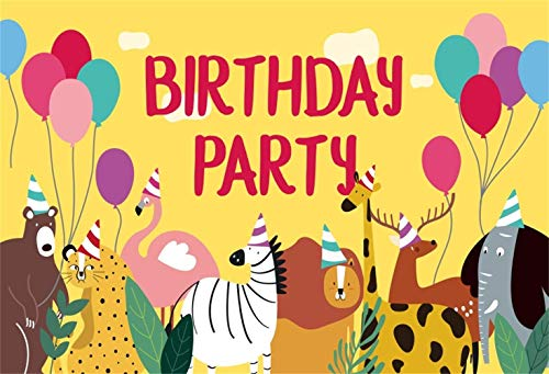 BuEnn 5x3ft Niedlichen Cartoon Tiere Zoo Foto Hintergrund Wild Hippo Giraffe Lion Elephant Safari Hintergrund für Party Kinder Geburtstag Baby Shower Genger Reveal Parteien Photo Booth Requisiten