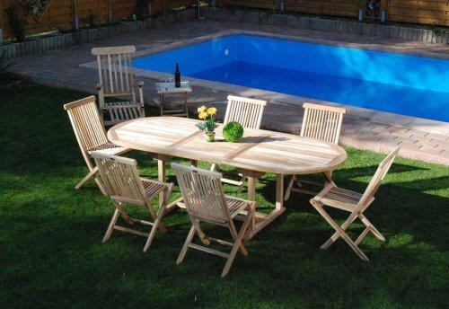 XXS® Möbel Gartenmöbel Set Aruba XL 9tlg Teak Holz pflegeleicht Holz Tisch ausziehbar mit Schirmloch sechs Klappstühle Menorca praktischer Klapptisch