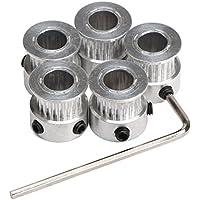 DollaTek 5PCS Aluminio GT2 polea de la correa dentada 20 dientes perforados 8 mm de ancho 6 mm y llave para RepRap Impresora 3D Prusa i3