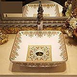 Lavabo de baño de cerámica, fregadero de cristal gema de baño de cerámica, diseño 3, solo lavamanos