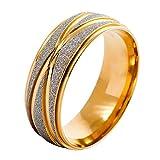 Herren Eheringe - SODIAL(R) Edelstahl Ring Band Gold Golden Silber Streifen Gestreift Hochzeit Wedding Eheringe Matt Elegant Groesse 62 x 19.7mm Herren