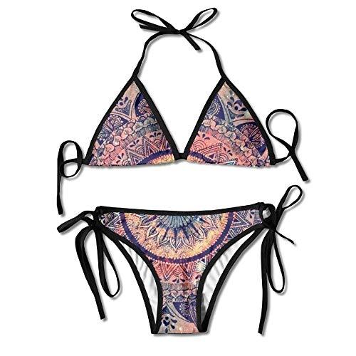 Women Sexy Bathing Suit Adjustable Amazing Floral Mandala Sexy Bikini Set 2 Piece