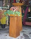 Set - Säule oder Schalenständer ca. 60 cm mit Schale und Kugel, aus Metall Edelrost Rost Eisen Deko Garten