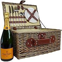 Cesta de mimbre de picnic con Veuve Clicquot Champagne y bolsa de refrigerador integrado - La idea de regalo Para la boda, cumpleaños, aniversario