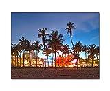 DEINEBILDER24 - Wandbild XXL Miami Beach 40 x 60 cm auf Leinwand und Keilrahmen. Beste Qualität,...