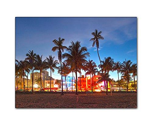 DEINEBILDER24 - Wandbild XXL Miami Beach 40 x 60 cm auf Leinwand und Keilrahmen. Beste Qualität, handgefertigt in Deutschland!