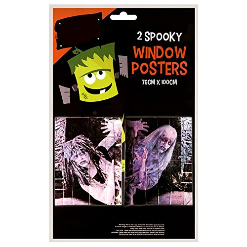 2Stück Spooky Halloween Zombie Girl Design Fenster Poster Creepy Scary House Party Dekoration Kunststoff Tabelle (Girl Scary)