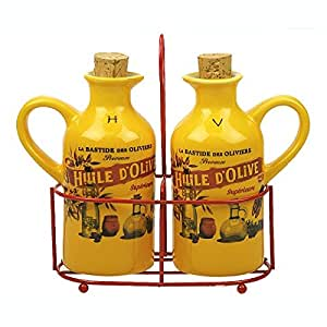 REVIMPORT - Panier Huile /Vinaigre décor HUILE D'OLIVE jaune *