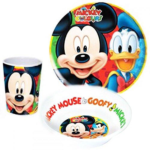 Micky Maus - Stoviglie per bambini, in melamina, con piatto, scodella e bicchiere, soggetto: Winnie the Pooh (Disney)