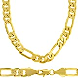 88808c2221677 Collier homme - plaqué or 24 carats - Chaîne figaro pur Hip Hop Bling, 6mm