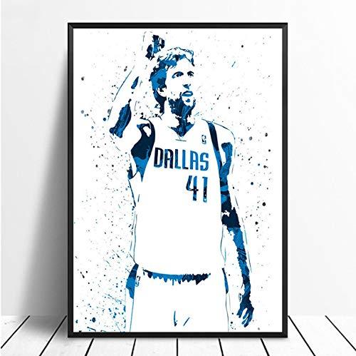 taoyuemaoyi Dirk Nowitzki Basketball Star Sport Leinwand Poster Wand Kunstdruck Kinder Dekor Mann Höhle Wohnkultur Wanddekor Leinwand Malerei 40 * 60 cm -