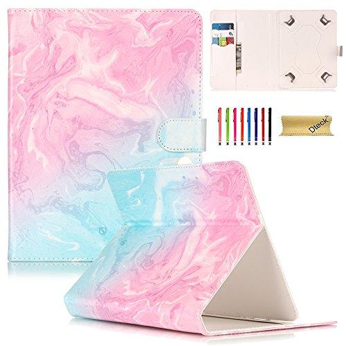 Universal 8.0 Zoll Tablet Hülle, Dteck(TM) Ständer Brieftasche Schutzhülle mit Karten-/Geldhalter Magnetische Schnalle Etui für Alle 7.5-8.5 Zoll iPad Mini, Galaxy Tab, Andriod IOS Tablet, Rosa Ozean