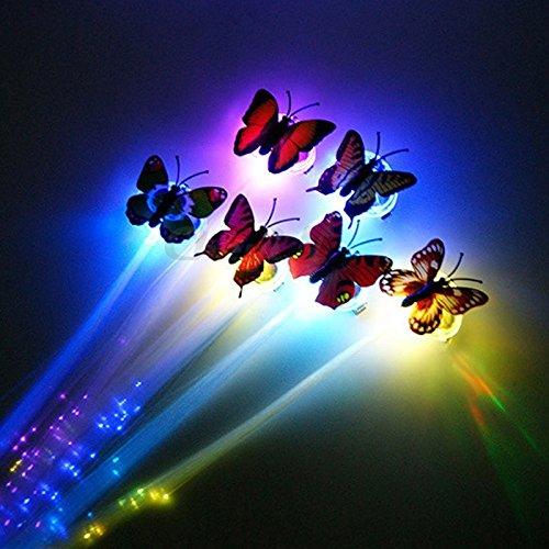 outflower LED Schmetterling Haarspange Flash Haar Licht Faser Pigtail Braid Plait Luminous Haar...