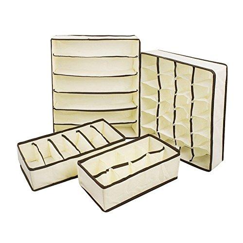 LAAT Set de 4 Boîte de Rangement avec Compartiment Séparé en Non-tissé pour Sous-vêtement Organisateur de Tiroir Placard Ensemble de Diviseur de Tiroirs