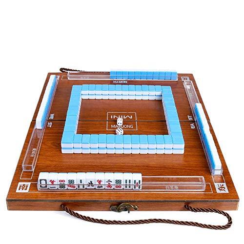 JM Mini Mahjong Tragbare Faltbare Holzkisten Majiang Gedeckter Tisch Spiel Mahjong Reisen Reisen Brettspiel Indoor Entertainment Grün
