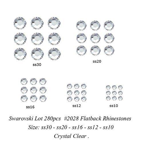 Zipperstop Lot 280 pcs Swarovski Flatback Rhinestone #2028 - ss30 - ss20 - ss16 - ss12 - ss10 Crystal Clear. -