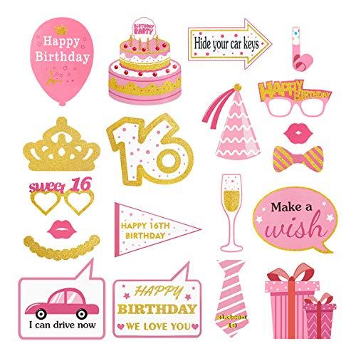 stag Photo Booth Requisiten Kit Mädchen Süße Party Requisiten Kit für 16. Happy Birthday Party Favors für Mädchen ()