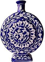 SHIV KRIPA Ceramic Flower Vase (9 X 8 Inch, Blue)