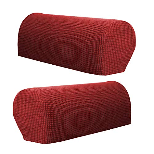 SM SunniMix 2 Stück Armlehnenschoner Sesselschoner Sesselhusse Sesselüberwurf Polsterschutz Sesselzubehör Lehnenüberwurf - Weinrot
