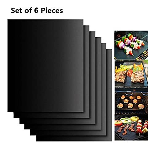 BBQ Grill Mats (Set of 6), ESOONS Reusable Non-stick BBQ Grill Mat Baking Sheet Oven Liner Teflon Cooking Mats - Reusable, Durable, Heat Resistant for Indoor Outdoor BBQ Works on Gas Charcoal Electric Grill