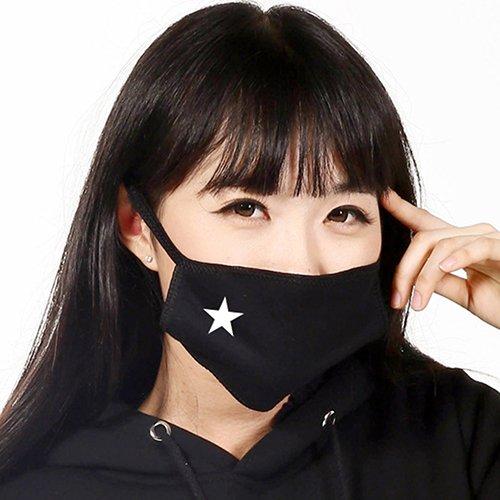 San Bodhi Unisex Anti-Staub Weiß Star Muster Baumwolle Elastic Band Cechya Gesicht Mund Maske–Schwarz -