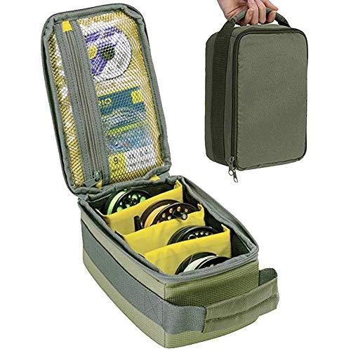 XIAMUSUMMER Rollentasche Angeltasche | Line Bait Fishhooks Aufbewahrungskoffer | Angelkasten, Faltbarer Futtereimer, Angelbox, Angelkoffer, Fischertasche, Fishing Bag | Armeegrün