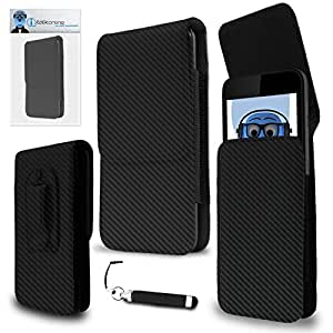 iTALKonline Samsung Galaxy U Carbon Fibre / Fiber Black PREMIUM PU Leather Vertical Executive Side Pouch Case Cover Holster with Belt Loop Clip and Magnetic Closure and Re-Tractable Captive Touch Tip Stylus Pen with Rubber Tip